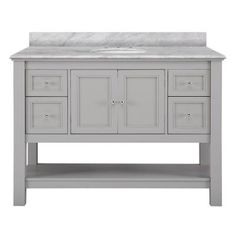 Foremost Gazette 49 in. W x 22 in. D Vanity in Grey with Marble Vanity Top in Cararra White with White Basin-GAGA4822-CAR - The Home Depot