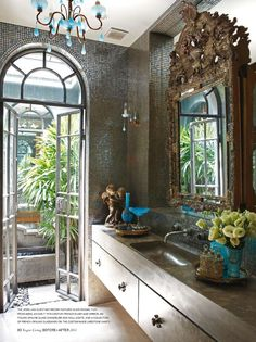 mosaic tile walls & ornate mirror