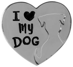 I Love My Dog Pin Heart Lapel Silver Tone Think Pawsitive AngelStar  #AngelStar