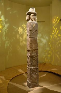 The Zbruch Idol, a 9th-century sculpture, on display in the Archaeological Museum in Kraków, Poland
