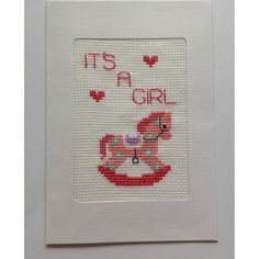 Gorgeous cross-stitched card for a baby girl from Lindabears Handmade for $6.00