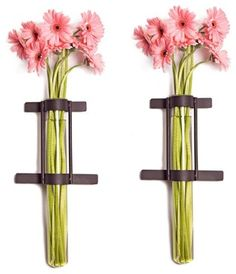 Wall Mount Cylinder Glass Vases with Rustic R contemporary-vases