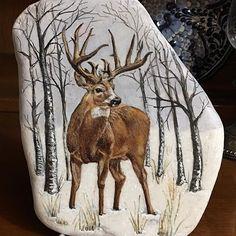 Wildlife Paintings, Wildlife Art, Animal Paintings, Deer Paintings, Feather Painting, Pebble Painting, Stone Painting, Rock Painting, Whitetail Deer Pictures