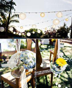 mason jar decorations | Lace with Mason jars decorations by jaime