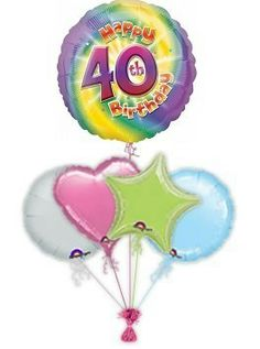 """Send elegant """"Rainbow to celebrate that milestone age with birthday balloon delivery or balloon bouquets. Helium filled birthday balloons by post delivered by free balloon delivery. Birthday Balloon Delivery, 40th Birthday Balloons, Balloon Bouquet, Rainbow, Rain Bow, Rainbows"""