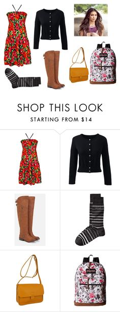 """Girl Meets World"" by nicole-kieboom on Polyvore featuring jon & anna, Lands' End, JustFab, Kate Sheridan and JanSport"