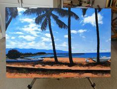 """Blue & Sand"" (18"" by 24"" acrylic on canvas, mixed media)"