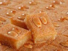 MPOWER/// Namoura - Lebanese Semolina Cake Recipe - My favorite Lebanese dessert! Arabic Dessert, Arabic Sweets, Arabic Food, Lebanese Desserts, Lebanese Recipes, Lebanese Cuisine, Sweet Recipes, Cake Recipes, Baby Cakes