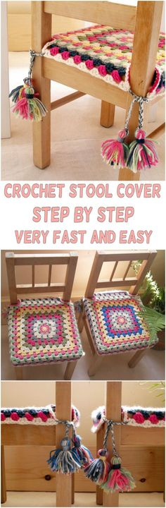 very fast and easy project the stool cover the pattern is great it is very easy to follow and trust me the result will amaze you, so view the instructions and follow the steps that are shown there.