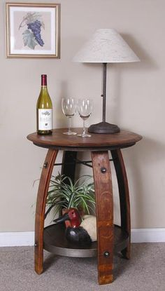Wine barrel side table.