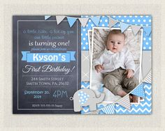 Elephant Boys Blue Grey 1st Birthday Invitation Download First Photo Invites