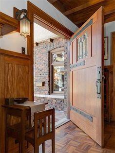 Arts and Crafts Bungalow | Entry / Craftsman Door | 1908 Lewis J. Merritt Mansion on Pasadena's Millionaires Row | Stickley, Roycroft, Marie Zimmermann, Dirk Van Erp, Limbert