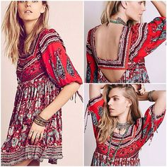 Free People Dress XS Free People mixed print bohemian style mini dress . Beautiful feminine details throughout . Also comes in small in light color Version in my closet Free People Dresses