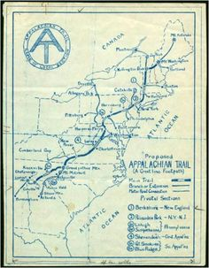 hand-drawn map of the Appalachian Trail from Georgia to Maine  2,184 miles!  Via; Oh, Pioneer