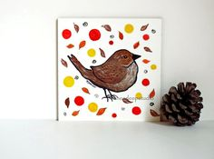 Brown Bird Painting in Frame Miniature 4x4 by KneeDeepOriginals