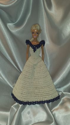 Barbie Doll Long Skirt With Sleeveless Blouse, Fashion Doll Outfit, Ecru Skirt and Top with Navy Blue Trim by GrandmasGalleria on Etsy