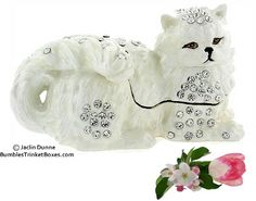 Trinket Boxes- Long Haired White Cat