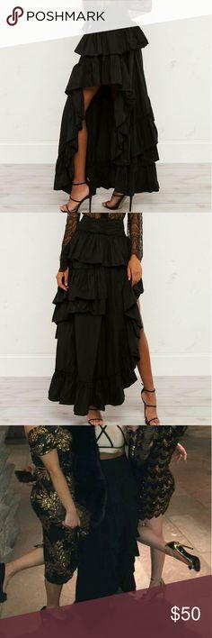 Akira Long Black  ruffle skirt Beautiful high low black ruffle skirt worn once and dry cleaned AKIRA Skirts High Low