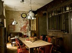 """Industrial style in an attached breakfast area. Incredible eye on """"what's up""""!"""