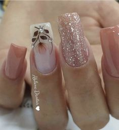 19 fabulous pink nail art designs ideas that looks cool 2 Fancy Nails, Bling Nails, Cute Nails, Pretty Nails, Square Nail Designs, Cute Nail Designs, Fabulous Nails, Gorgeous Nails, Nagel Bling
