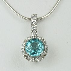 Apatite Sterling Silver Necklace 1ct 6mm Surrounded by Gusgusgems