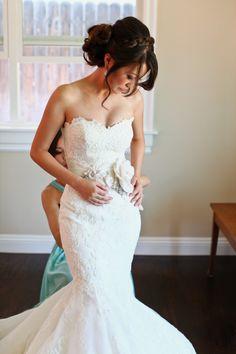 Wedding Dress: Olva By Blue By Enzoani - http://www.stylemepretty.com/portfolio/olva-by-blue-by-enzoani Photography:…