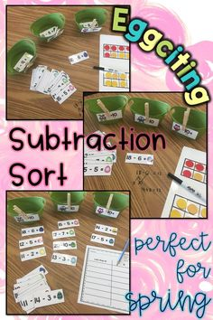 Looking for fun Easter/ Spring activities to review math skills?  First grade students practice subtraction within 20 with this fun game that reviews common core standards 1.OA.A.1 1.OA.B.4 1.OA.C.5 1.OA.C.6.  Teachers can use it in small groups or as centers. Students sort the fact cards into numbers that are greater than, less than, or equal to 10. The record the equations in the recording sheet. Bilingual worksheets ensures the learning for kids in English and Spanish classrooms to transfer.