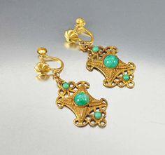 Czech Art Deco Peking Glass Earrings Dangle Drop by boylerpf