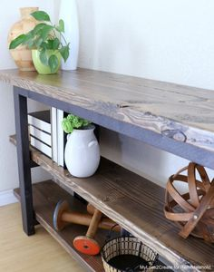 Pottery Barn Inspired Modern Rustic Console Table 10 Lovely DIY Rustic Living Room ideas you can build for your home Modern Rustic Furniture, Colorful Furniture, Diy Furniture, Furniture Plans, Furniture Movers, Furniture Stores, Plywood Furniture, Unique Furniture, Painted Furniture