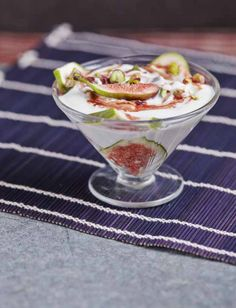 Pistachio, Fig and Goats' Cheese Trifle #glutenfree #grainfree #ArtofEatingWell