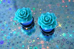 Mint Green Cabochon Flower Gauges Sizes 1/2 in 9/16 in 00g