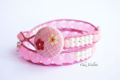 Pink two Wrap Bracelet Leather Romantic Bead by chezviolette