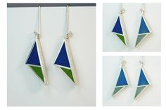 Angelina Jane - Geometric colourful sliver and resin earrings with interchangeable dual coloured surfaces Contemporary Jewellery, Resin Jewelry, Drop Earrings, Artist, Silver, Color, Design, Colour, Resin Jewellery