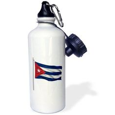 3dRose Flag of Cuba on a flag pole over white Cuban, Sports Water Bottle, 21oz