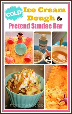 Fun extension activity for an ice cream theme.  Recipes for making realistic pretend sundaes and ideas for using with ice cream themed book(s)!