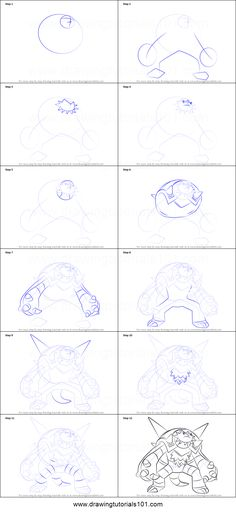 How to Draw Chesnaught from Pokemon printable step by step drawing sheet : DrawingTutorials101.com