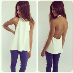 "White Sleeveless Backless Tank Tops Sexy T-Shirt. Use coupon code ""super28"" at checkout to save 28% off your entire purchase today."