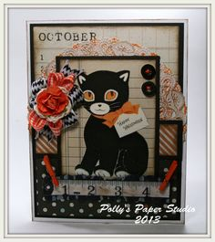 Vintage Black Cat Halloween Card Handmade by PollysPaper on Etsy, $7.50