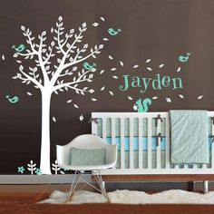 Personalized Name Vinyl Wall Decals One Color Tree,Cute Squirrel Bird with Custom Name Baby Nursery Wall Decal Set Wall Stickers