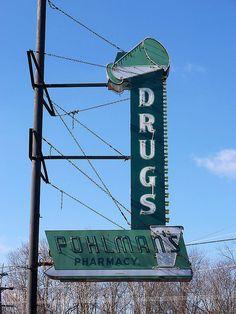 Pohlman's Pharmacy Drugs ~ Retro Neon Sign. Goshen, Ohio.