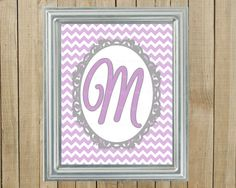Any Colors Lavender Chevron with Gray Initial by PinkPoppyDesign, $7.00