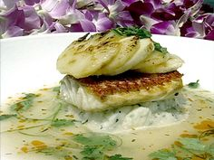 Pan Roasted Onaga (Red Snapper) with Charred Sugarloaf Pineapple, Hawaiian Hearts of Palm and Kafir Lime Jus recipe from Follow That Food via Food Network