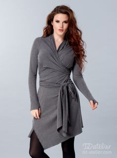 Dress tunic Wrap Me, grey melange. Yes. The name is horrible. But, it has an edge, is super form flattering and the sleeves give a bit more of an edge. Plus the grey would look fantastic with black or dark brown boots. 83 lbs. DD Atelier.
