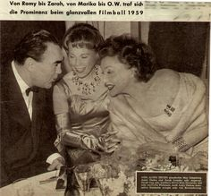 actress of the Third Reich Zarah Leander, Anny Ondra and Max Schmeling at the media ball in Berlin, 1959