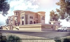 Villa Arabic-style Mixed on Behance Wall Exterior, Exterior Design, Classic House Exterior, Dream Mansion, House Elevation, Villa Design, Moroccan Decor, Luxury Villa, Architecture Art