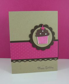 Stampin' Up! ... hand crafted cupcake card ... found on Etsy ... kraft and hot pink with dar chocolate accents ...