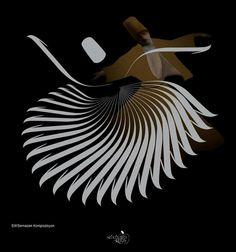SABAHATTİN KAYIŞ elif semazen Persian Calligraphy, Islamic Art Calligraphy, Whirling Dervish, Dance Paintings, Font Art, Turkish Art, Different Tattoos, Arabic Art, Double Exposure