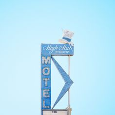 Originally the Chevron Motel, the High Hat Regency Motel in Las Vegas took on its name and famous hat in Light Blue Aesthetic, Blue Aesthetic Pastel, Aesthetic Colors, Aesthetic Pictures, Hut Party, Blue Feeds, Blue Neighbourhood, High Hat, Everything Is Blue