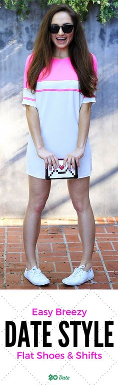 Look adorable, cute and polished in this easy to style fashionable spring look. Spring 2016 is all about bright colors, laid back looks and effortless beauty. Casual flats. Short Shift Dresses. Fun accessories. Learn how you can dress to impress for less and check out this blog!