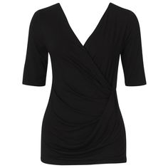 76a9d30ffb9 Nolita Tuck Detail Top - Black This sleeve jersey top features a wrap over  neckline and knot detail at at the side waist. Diana Ferrari